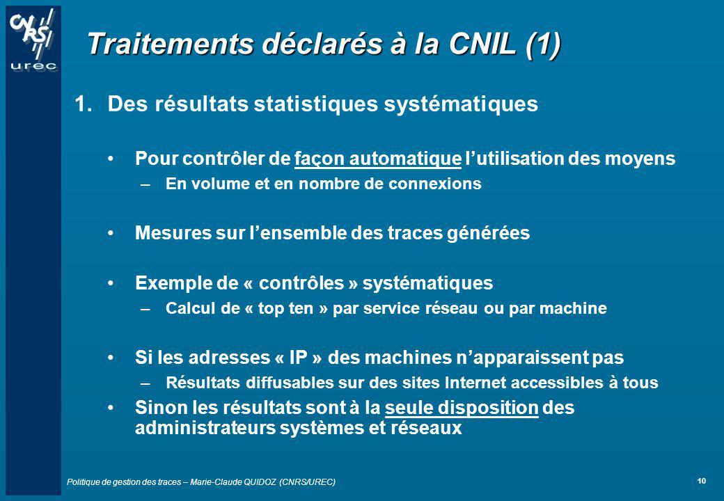 Traitements déclarés à la CNIL (1)