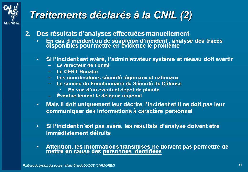 Traitements déclarés à la CNIL (2)