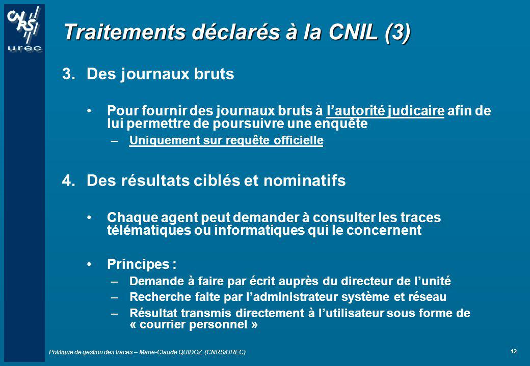 Traitements déclarés à la CNIL (3)