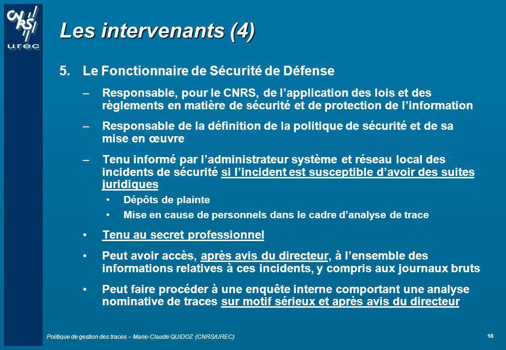 Les intervenants (4) Le Fonctionnaire de Sécurité de Défense