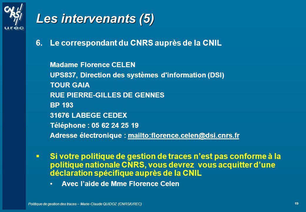 Les intervenants (5) Le correspondant du CNRS auprès de la CNIL