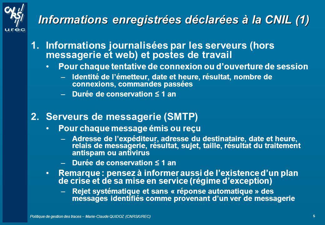 Informations enregistrées déclarées à la CNIL (1)