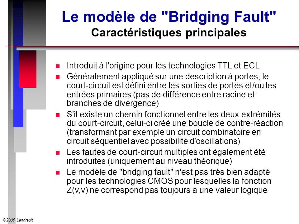 Le modèle de Bridging Fault Caractéristiques principales