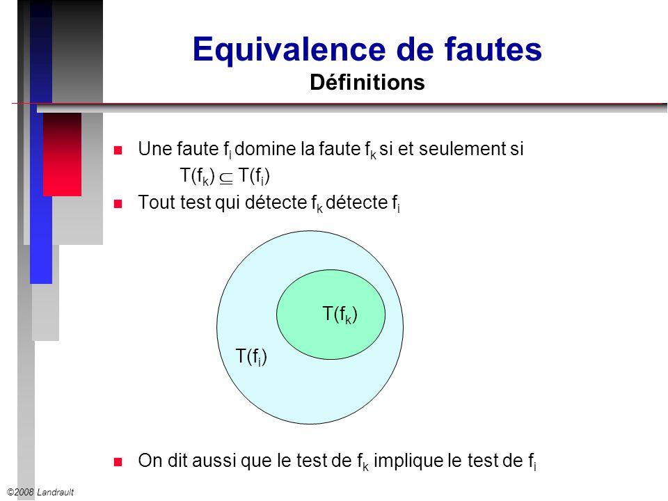 Equivalence de fautes Définitions