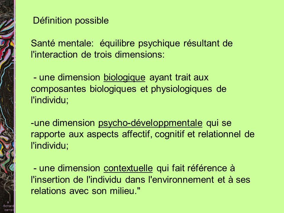 a fichard. carroll. Définition possible. Santé mentale: équilibre psychique résultant de l interaction de trois dimensions: