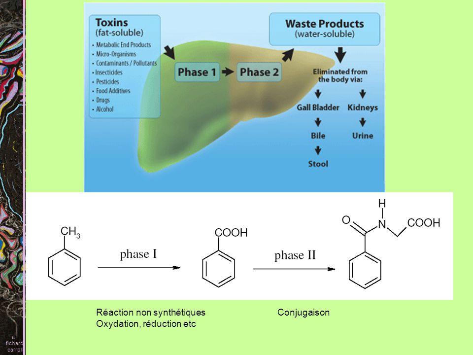 Réaction non synthétiques Oxydation, réduction etc Conjugaison