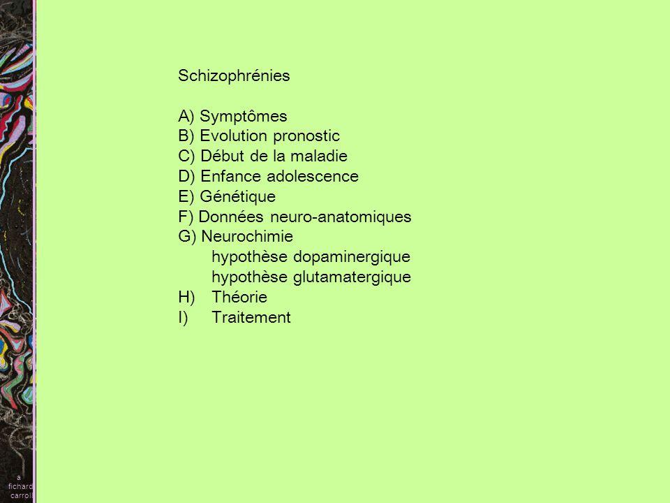 B) Evolution pronostic C) Début de la maladie D) Enfance adolescence