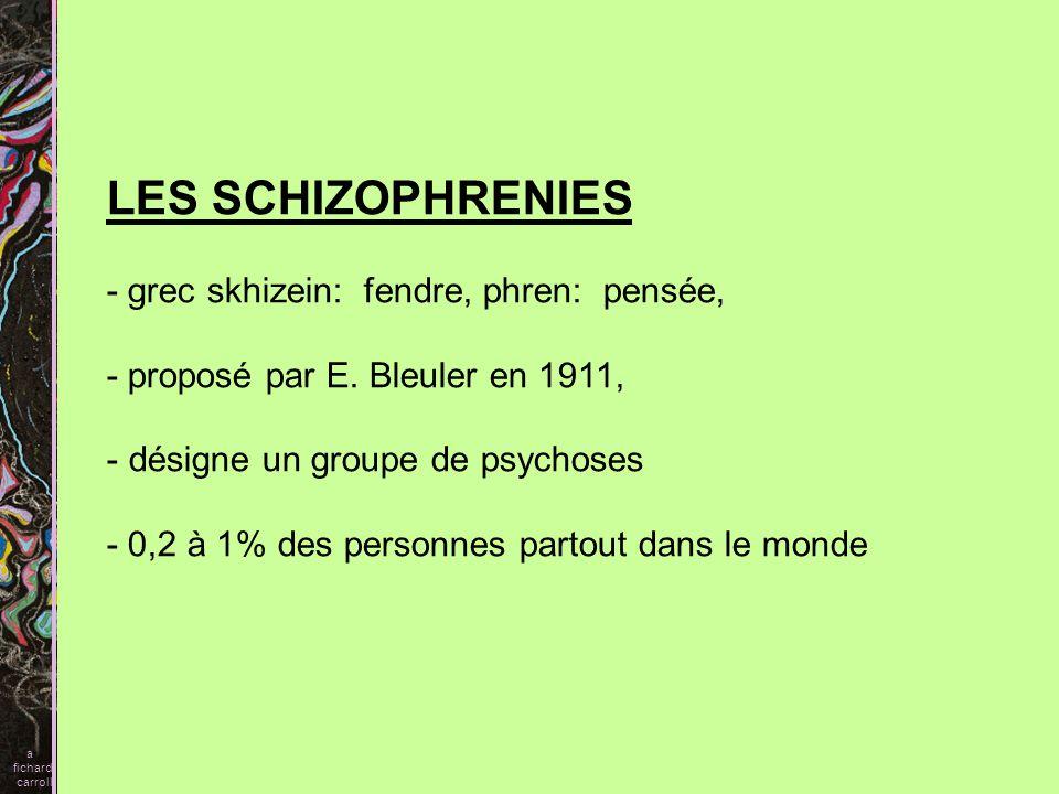 LES SCHIZOPHRENIES - grec skhizein: fendre, phren: pensée,
