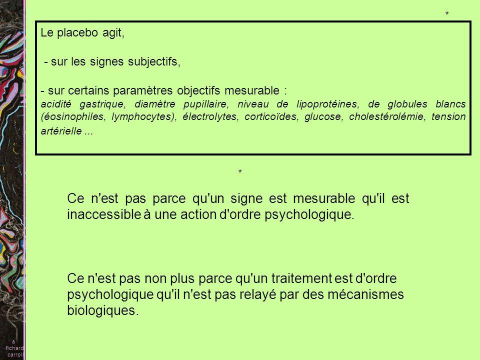 a fichard. carroll. * Le placebo agit, - sur les signes subjectifs, sur certains paramètres objectifs mesurable :