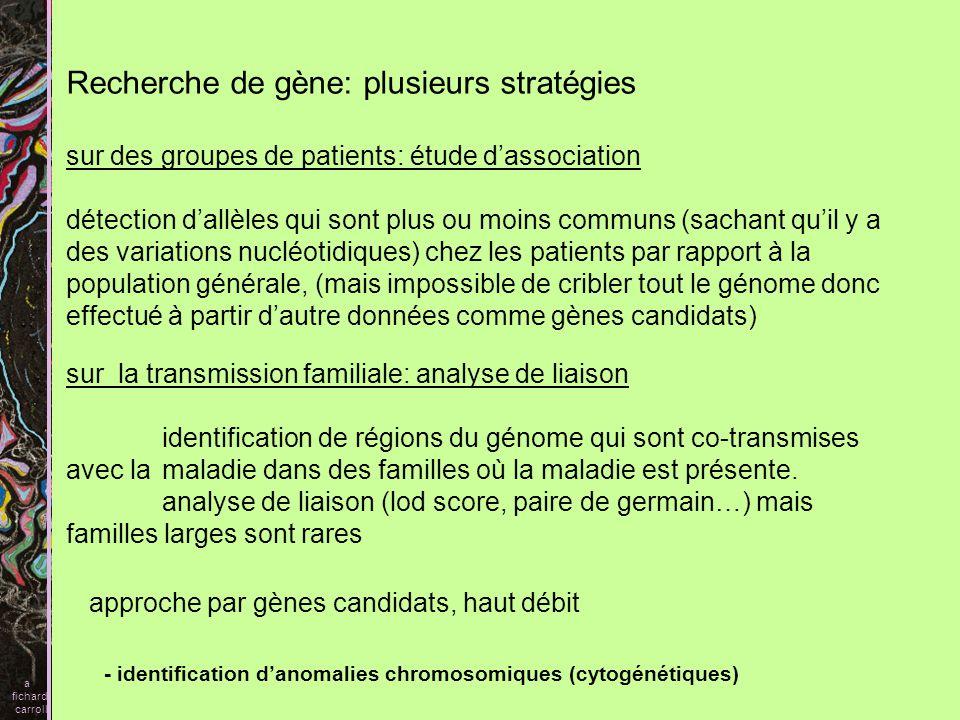 Recherche de gène: plusieurs stratégies