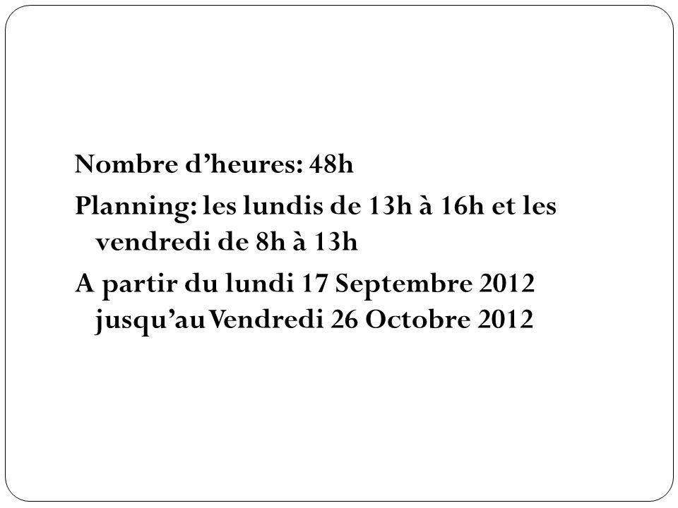 Nombre d'heures: 48h Planning: les lundis de 13h à 16h et les vendredi de 8h à 13h A partir du lundi 17 Septembre 2012 jusqu'au Vendredi 26 Octobre 2012