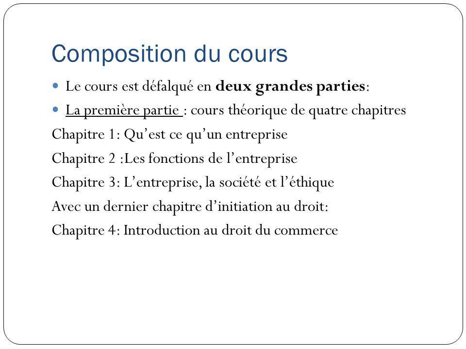 Composition du cours Le cours est défalqué en deux grandes parties: