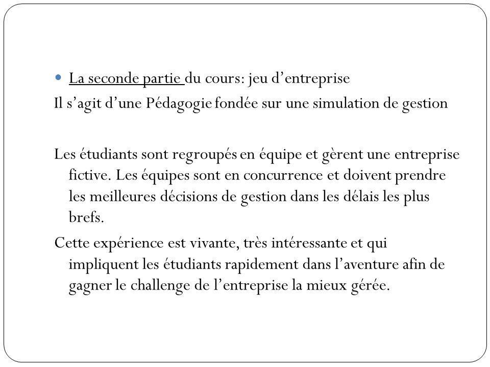 La seconde partie du cours: jeu d'entreprise