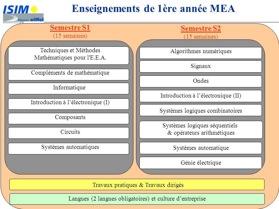 Enseignements de 1ère année MEA