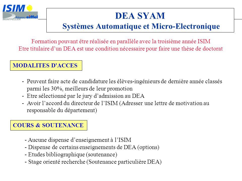 DEA SYAM Systèmes Automatique et Micro-Electronique