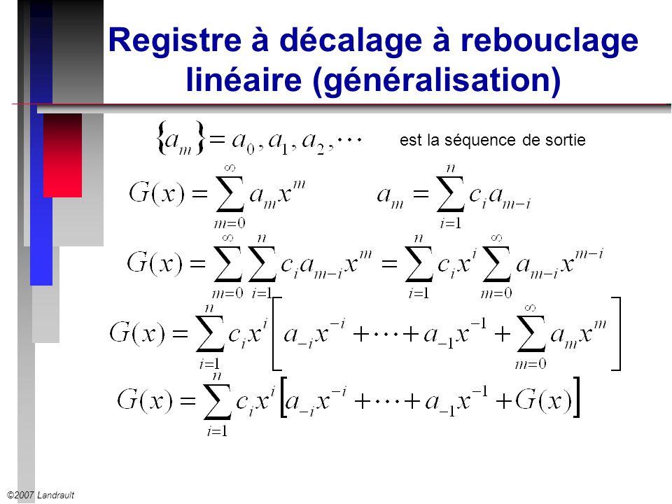 Registre à décalage à rebouclage linéaire (généralisation)