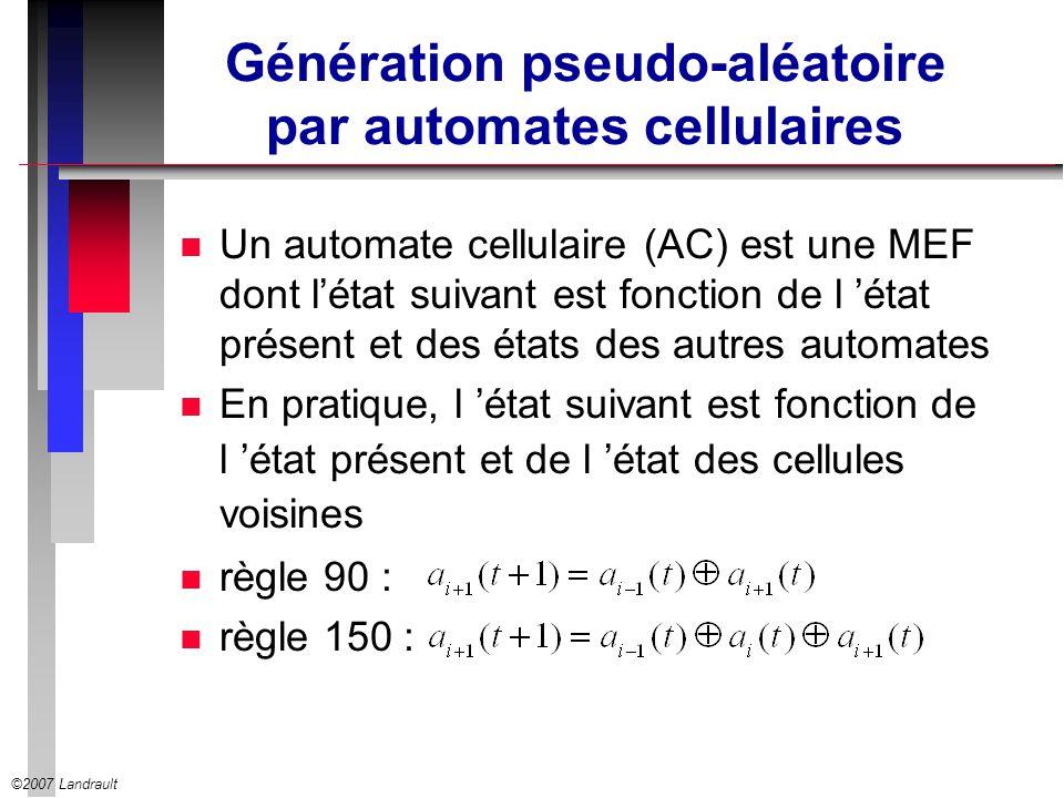 Génération pseudo-aléatoire par automates cellulaires