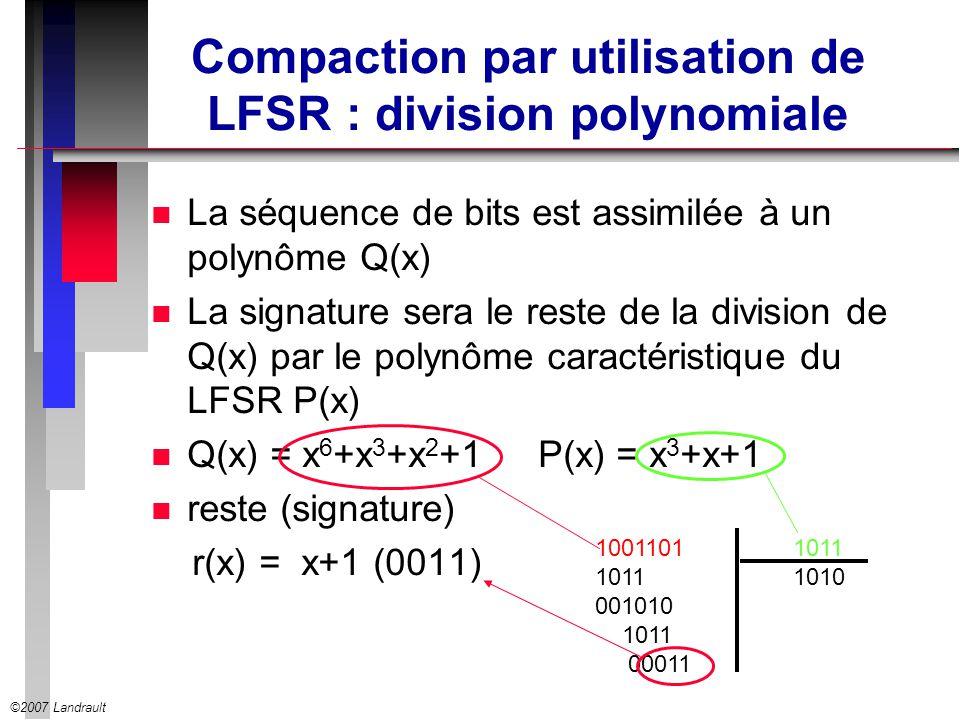 Compaction par utilisation de LFSR : division polynomiale