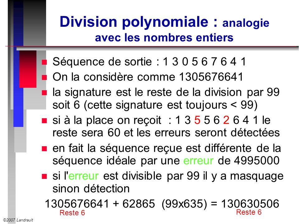 Division polynomiale : analogie avec les nombres entiers