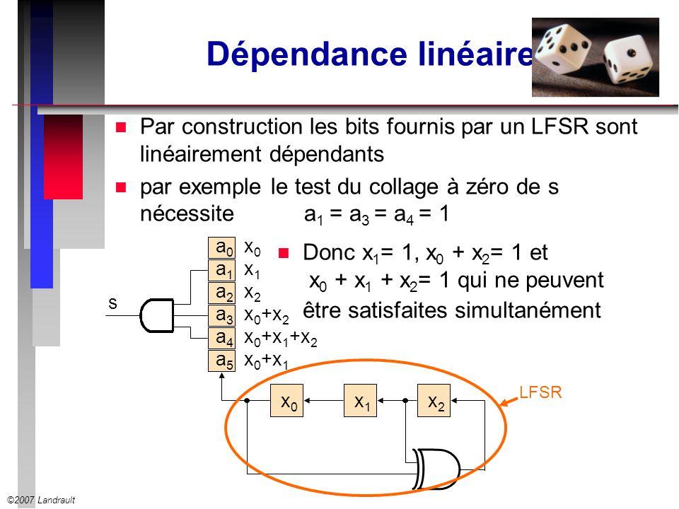 Dépendance linéaire Par construction les bits fournis par un LFSR sont linéairement dépendants.