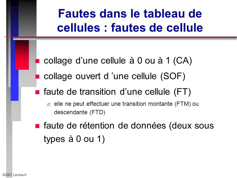 Fautes dans le tableau de cellules : fautes de cellule