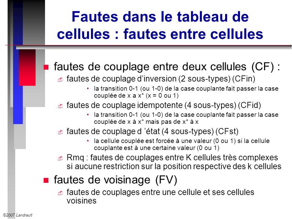 Fautes dans le tableau de cellules : fautes entre cellules