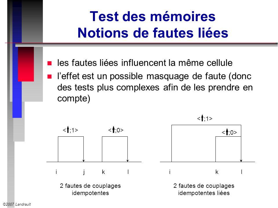 Test des mémoires Notions de fautes liées