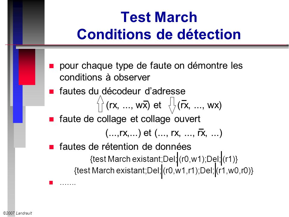 Test March Conditions de détection
