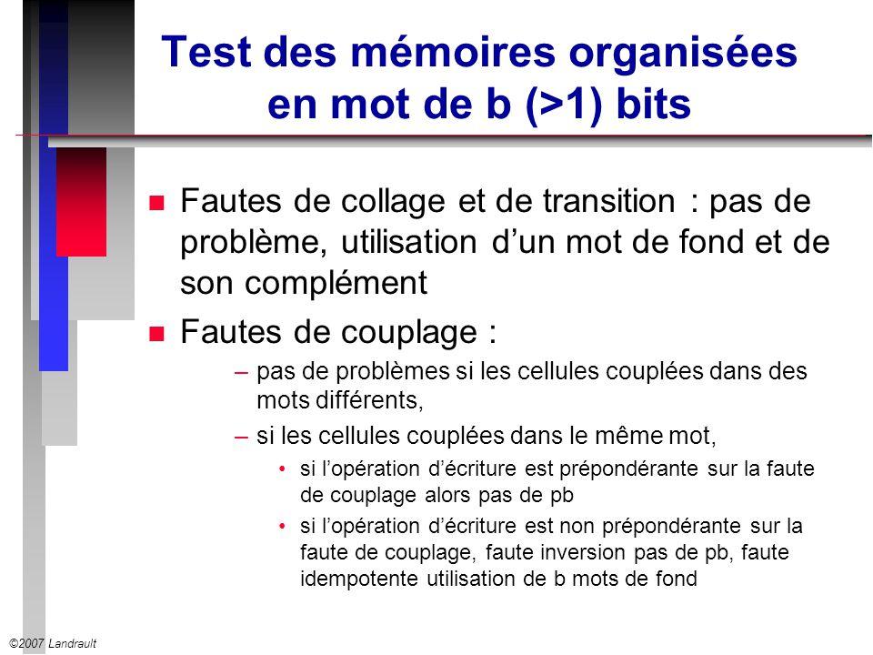Test des mémoires organisées en mot de b (>1) bits