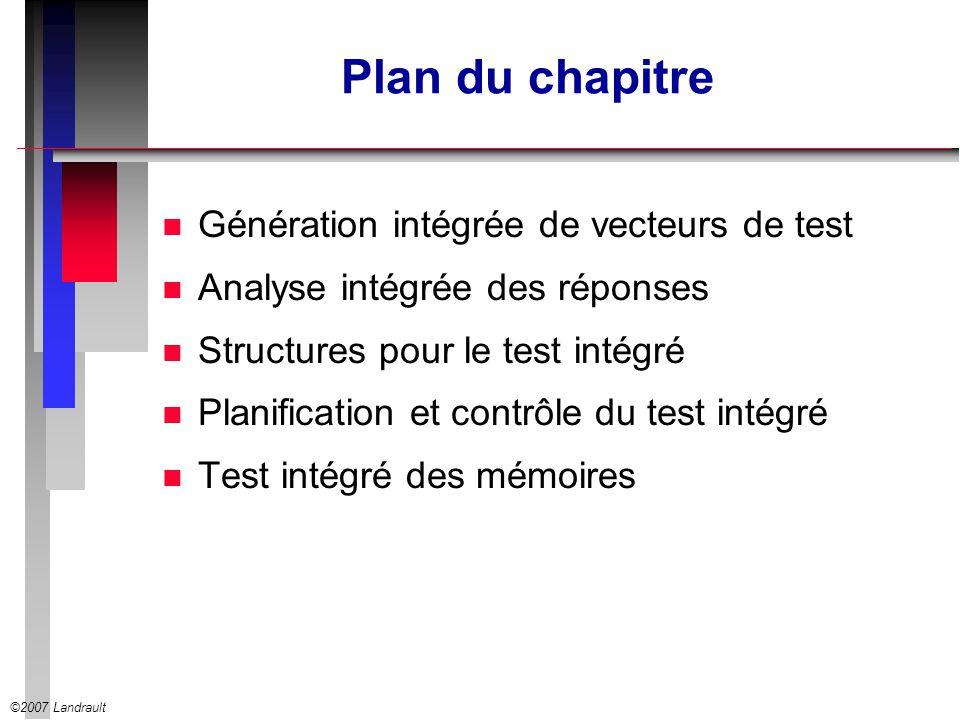 Plan du chapitre Génération intégrée de vecteurs de test