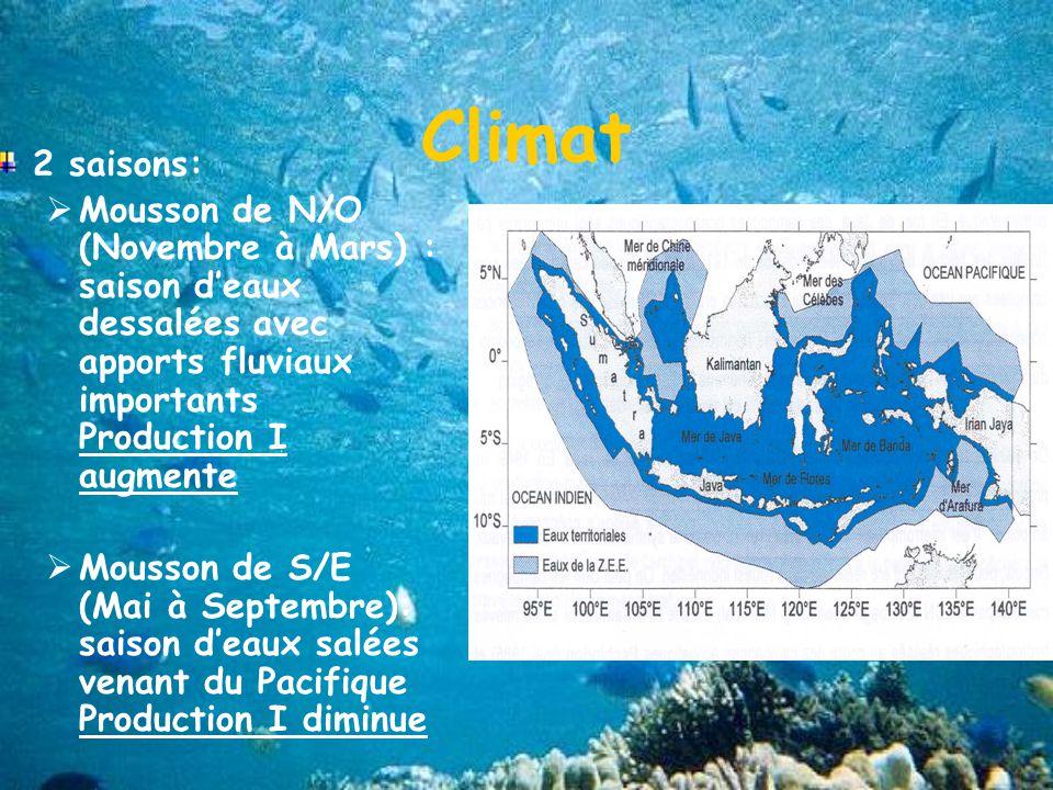 Climat 2 saisons: Mousson de N/O (Novembre à Mars) : saison d'eaux dessalées avec apports fluviaux importants Production I augmente.