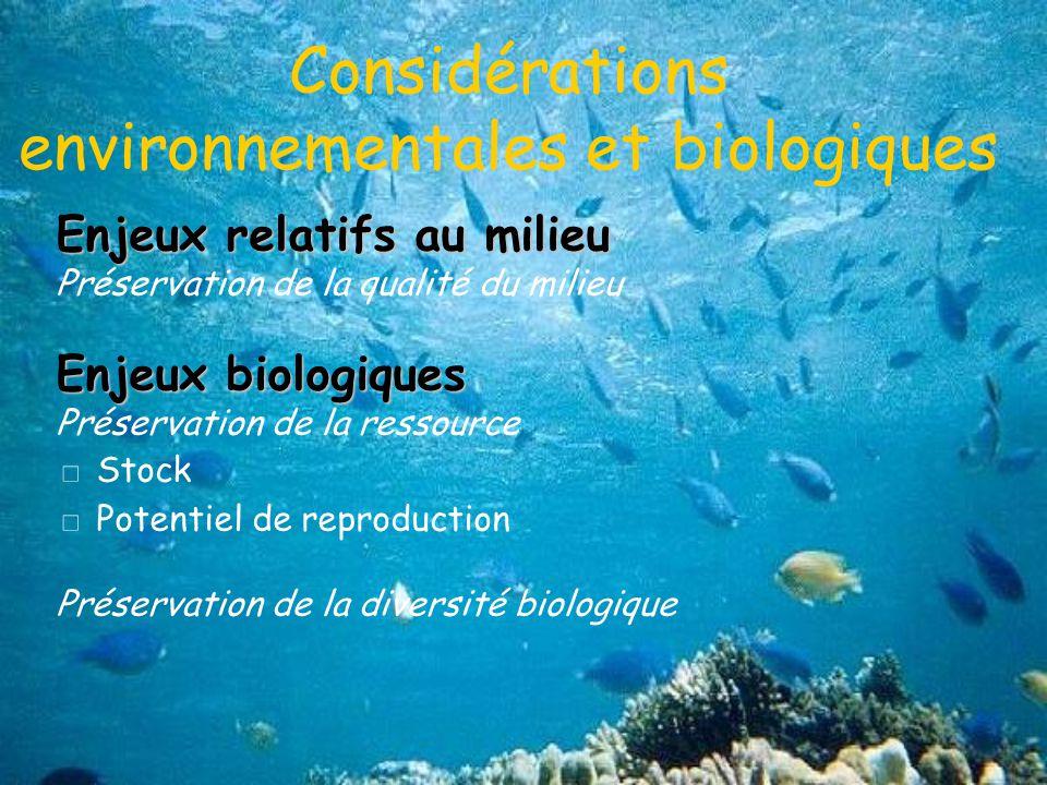 Considérations environnementales et biologiques
