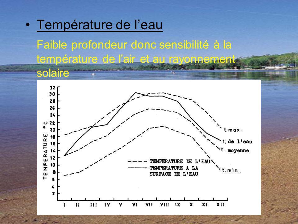 Température de l'eau Faible profondeur donc sensibilité à la température de l'air et au rayonnement solaire.