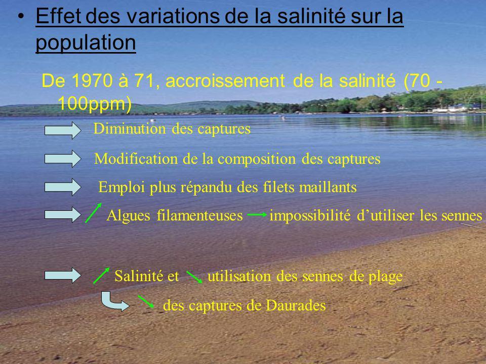 Effet des variations de la salinité sur la population