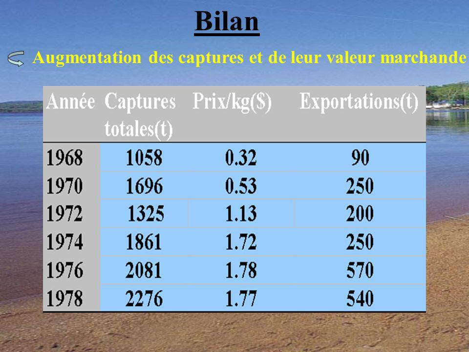 Bilan Augmentation des captures et de leur valeur marchande
