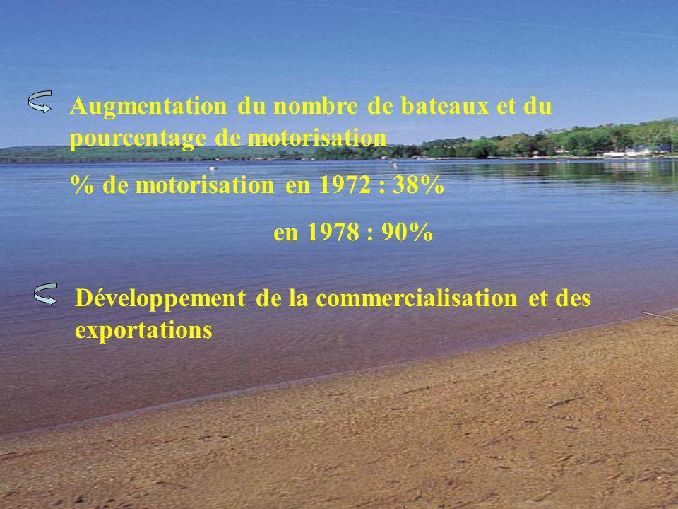 Augmentation du nombre de bateaux et du pourcentage de motorisation