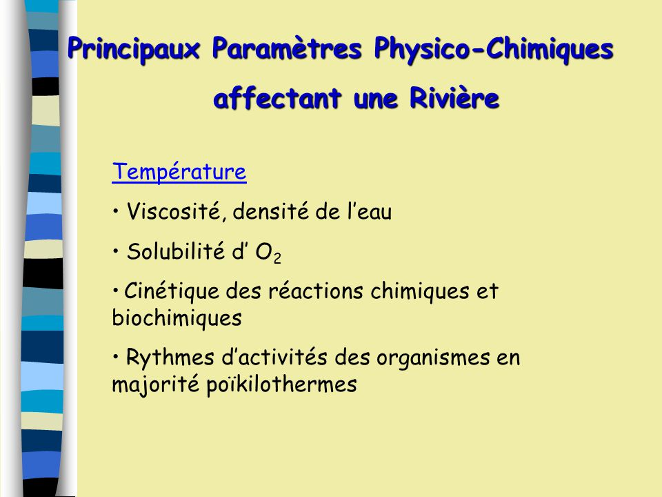 Principaux Paramètres Physico-Chimiques affectant une Rivière