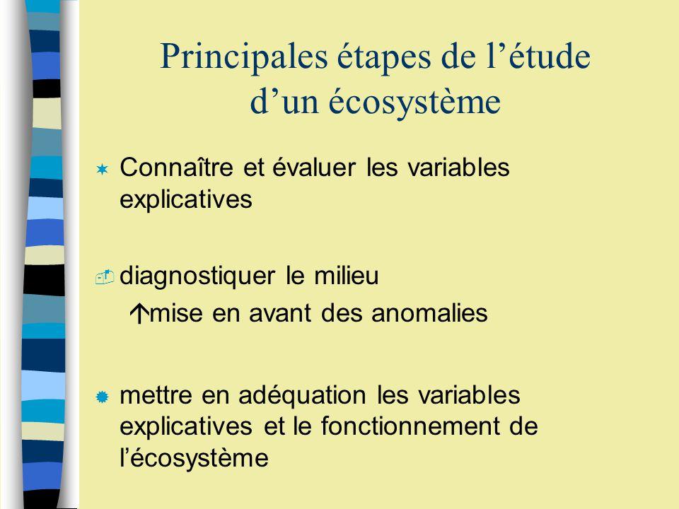 Principales étapes de l'étude d'un écosystème