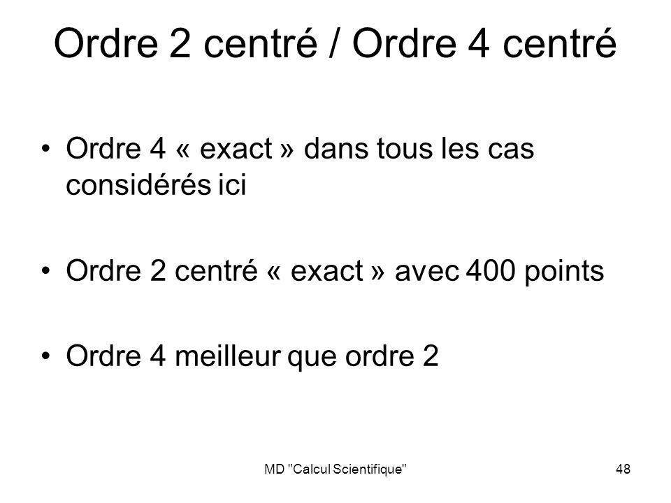 Ordre 2 centré / Ordre 4 centré