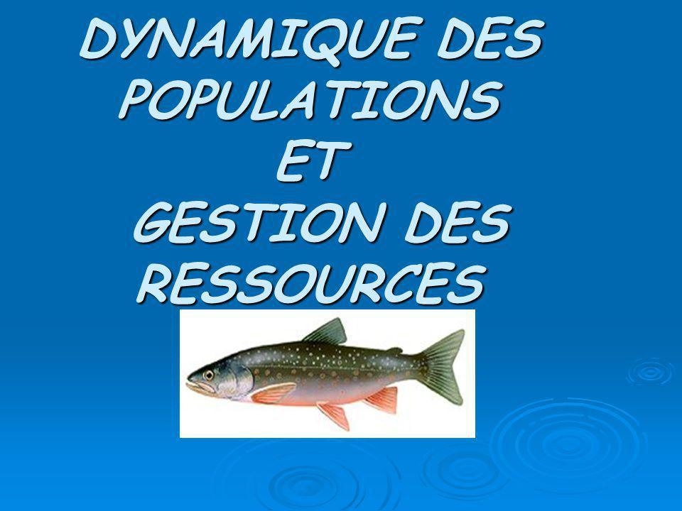 DYNAMIQUE DES POPULATIONS ET GESTION DES RESSOURCES