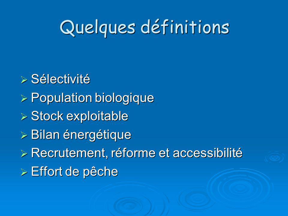 Quelques définitions Sélectivité Population biologique