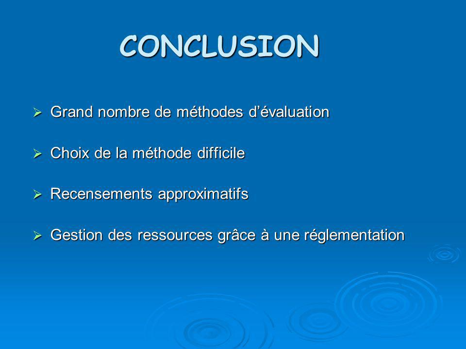 CONCLUSION Grand nombre de méthodes d'évaluation