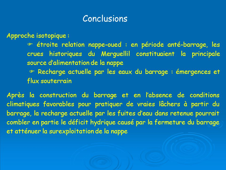 Conclusions Approche isotopique :