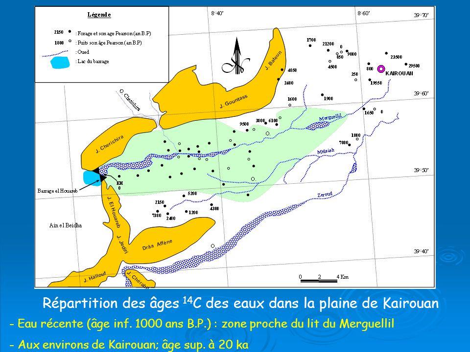 Répartition des âges 14C des eaux dans la plaine de Kairouan