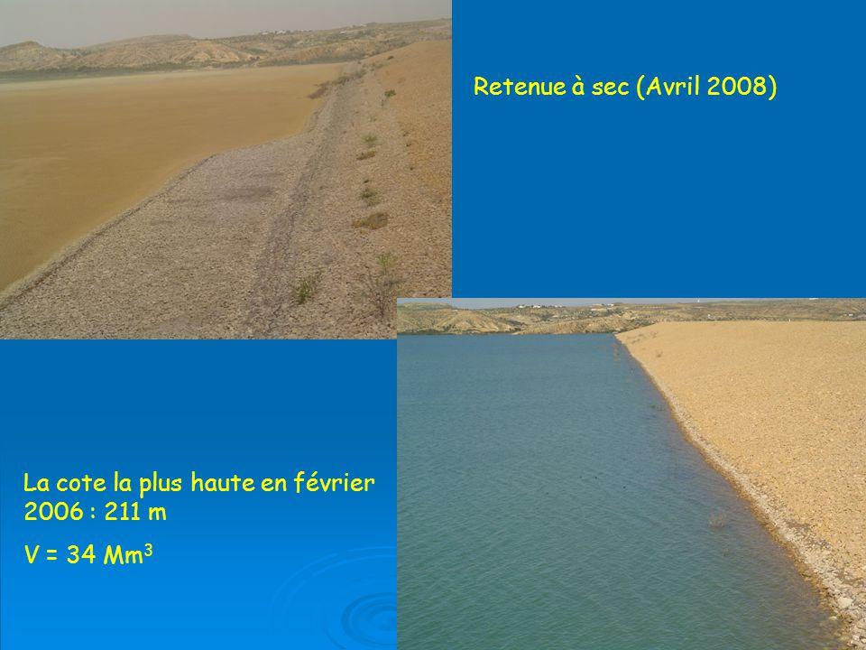 Retenue à sec (Avril 2008) La cote la plus haute en février 2006 : 211 m V = 34 Mm3
