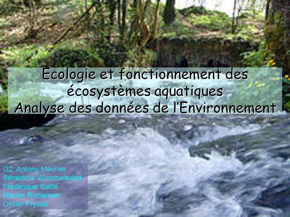 Ecologie et fonctionnement des écosystèmes aquatiques Analyse des données de l'Environnement