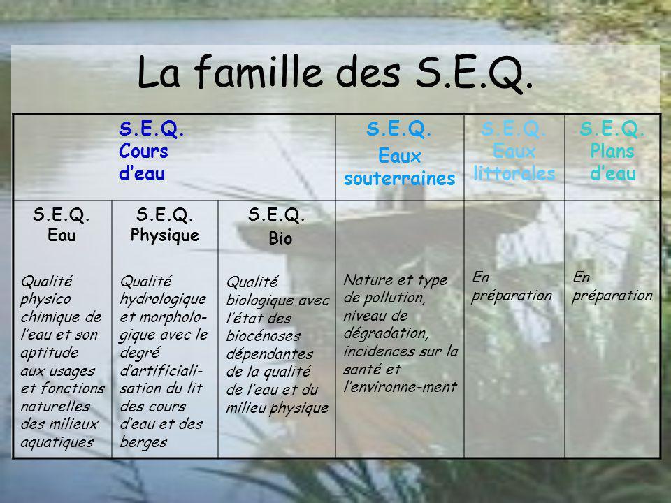 La famille des S.E.Q. S.E.Q. Cours d'eau S.E.Q. Eaux souterraines