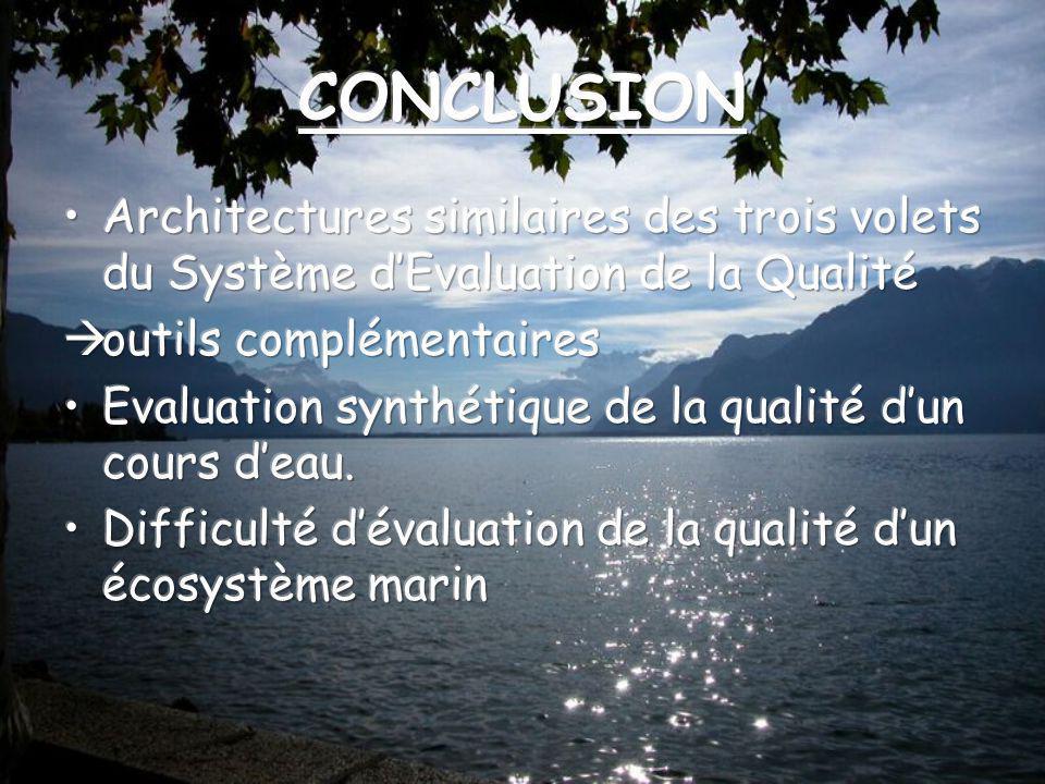 CONCLUSION Architectures similaires des trois volets du Système d'Evaluation de la Qualité. outils complémentaires.