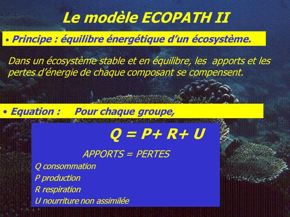 Le modèle ECOPATH II Principe : équilibre énergétique d'un écosystème.