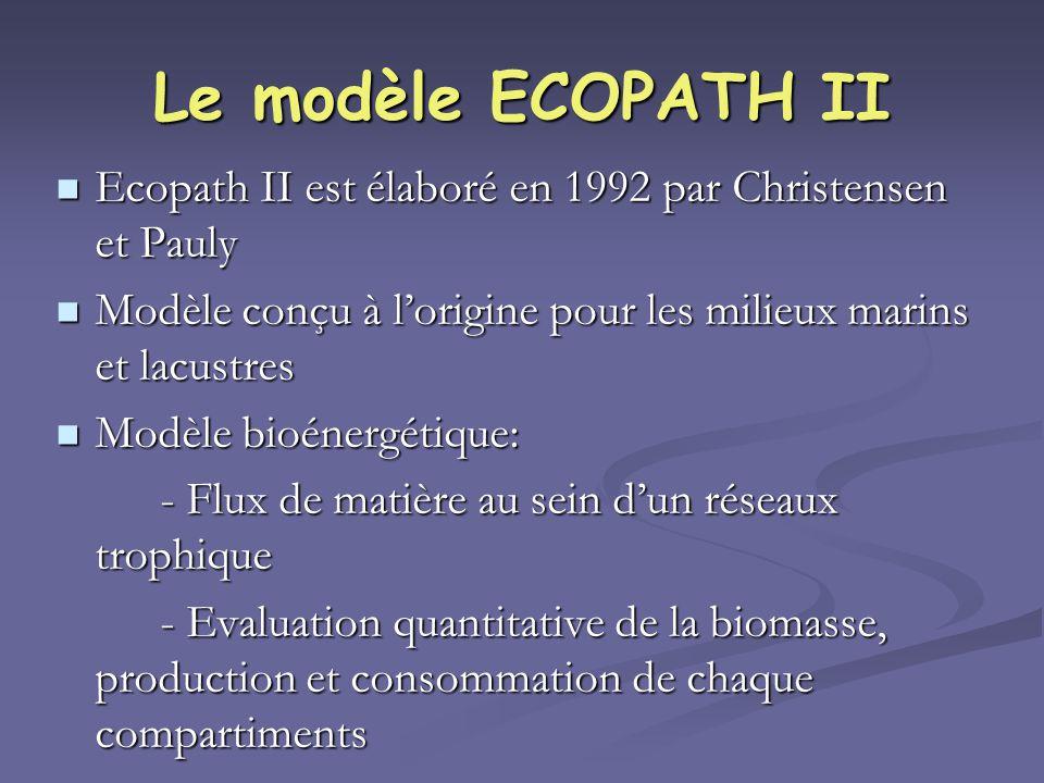 Le modèle ECOPATH II Ecopath II est élaboré en 1992 par Christensen et Pauly. Modèle conçu à l'origine pour les milieux marins et lacustres.